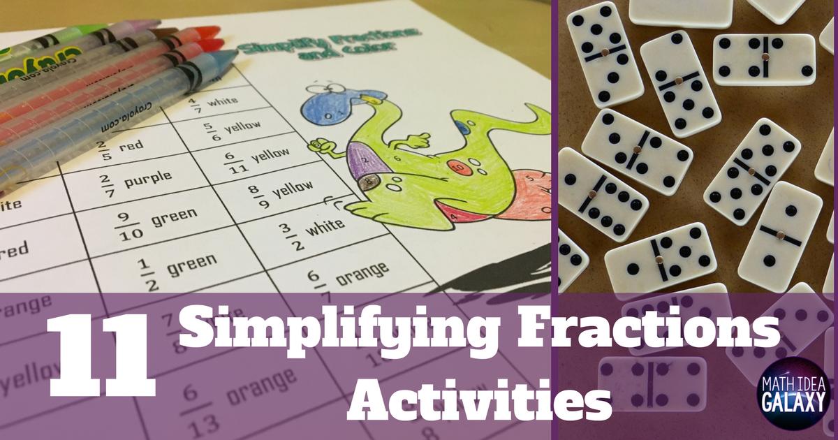 photograph regarding Simplifying Fractions Game Printable named 11 Tremendous Entertaining Routines for Simplifying Fractions - Thought Galaxy